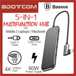 Baseus Superlative series 5 in 1 Type-C To 60W Type-C PD + 4x USB3.0 Port Multifunction Hub for Mobile / Laptors / Macbook