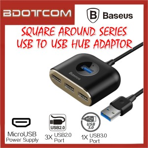 Baseus Square Round series 4 in 1 USB3.0 to USB3.0 Port + 3 USB2.0 Port with MicroUSB Power Supply USB Hub Adaptor