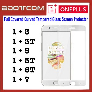 Full Covered Curved Tempered Glass Screen Protector for Oneplus 3 / Oneplus 3T / Oneplus 5 / Oneplus 5T / Oneplus 6T / OnePlus 7 (White)