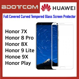 Full Covered Curved Tempered Glass Screen Protector for Huawei Honor 7x / Honor 8 Pro / Honor 8x / Honor 9 Lite / Honor 9x / Honor Play (White)