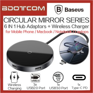 Baseus Circular Mirror 6 In 1 Type-C to USB3.0 Port + 3X USB2.0 Port + Type-C PD Port Hub Adaptor + 10W Wireless Charger Charging Dock