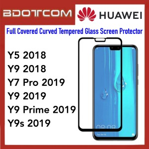 Full Covered Curved Tempered Glass Screen Protector for Huawei Y5 2018 / Y9 2019 / Y7 Pro 2019 / Y9 2019 / Y9 Prime 2019 / Y9s 2019 (Black)