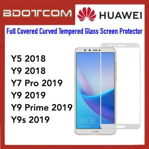 Full Covered Curved Tempered Glass Screen Protector for Huawei Y5 2018 / Y9 2019 / Y7 Pro 2019 / Y9 2019 / Y9 Prime 2019 / Y9s 2019 (White)