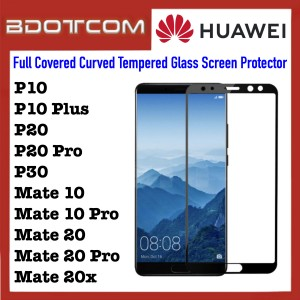 Full Covered Curved Tempered Glass Screen Protector for Huawei P10 / P10 Plus / P20 / P20 Pro / P30 / Mate 10 / Mate 10 Pro / Mate 20 / Mate 20 Pro / Mate 20x (Black)