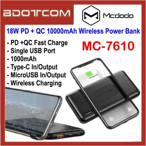 Mcdodo MC-7610 18W PD + QC 10000mAh Wireless Power Bank for Samsung / Apple / Huawei / Oppo / Vivo / Xiaomi