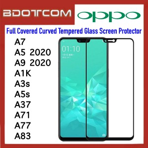 Full Covered Curved Tempered Glass Screen Protector for Oppo A7 / A5 2020 / A9 2020 / A1K / A3s / A5s / A37 / A71 / A77 / A83 (Black)