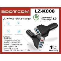 LZ-K08 QC3.0 4 USB Ports 7A with intelligent chips Car Charger for Samsung Galaxy S20, S10, Note10, Note9, A71, A51, Huawei P40, P30, Mate 30, Mate 20, iPhone 11, iPhone XS Max, iPhone XR, Oppo Reno, Vivo Nex, Xiaomi Black Shark, Asus Rog Phone