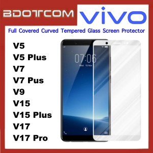 Full Covered Curved Tempered Glass Screen Protector for Vivo V5 / V5 Plus / V7 / V7 Plus / V9 / V15 / V15 Pro / V17 / V17 Pro (White)