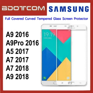 Full Covered Curved Tempered Glass Screen Protector for Samsung Galaxy A9 2016 / A9 Pro 2016 / A5 2017 / A7 2017 / A7 2018 / A9 2018 (White)