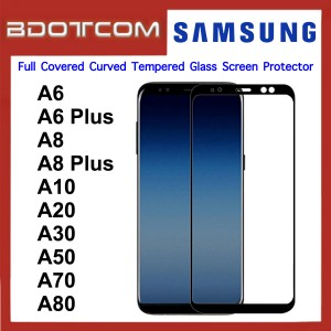 Full Covered Curved Tempered Glass Screen Protector for Samsung Galaxy A6 / A6 Plus / A8 / A8 Plus / A10 / A20 / A30 / A50 / A70 / A80 (Black)