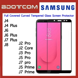 Full Covered Curved Tempered Glass Screen Protector for Samsung Galaxy J4 / J4 Plus / J6 / J6 Plus / J7 Plus / J8 / J2 Pro / J2 Core / J3 Pro / J5 Pro / J7 Pro / J5 Prime / J7 Prime (Black)