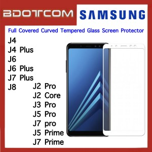 Full Covered Curved Tempered Glass Screen Protector for Samsung Galaxy J4 / J4 Plus / J6 / J6 Plus / J7 Plus / J8 / J2 Pro / J2 Core / J3 Pro / J5 Pro / J7 Pro / J5 Prime / J7 Prime (White)