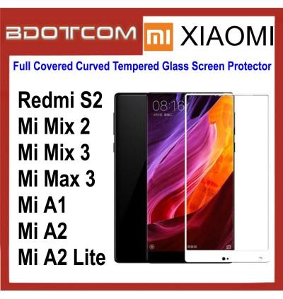 Full Covered Curved Tempered Glass Screen Protector for Xiaomi Redmi S2 / Mi Mix 2 / Mi Mix 3 / Mi Max 3 / Mi A1 / Mi A2 / Mi A2 Lite (White)