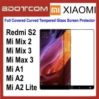 Full Covered Curved Tempered Glass Screen Protector for Xiaomi Redmi S2 / Mi Mix 2 / Mi Mix 3 / Mi Max 3 / Mi A1 / Mi A2 / Mi A2 Lite (Black)