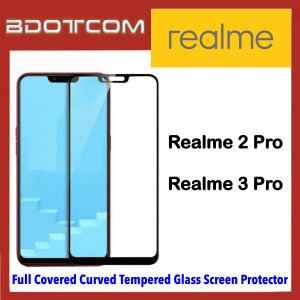 Full Covered Curved Tempered Glass Screen Protector for Realme 2 Pro / Realme 3 Pro (Black)