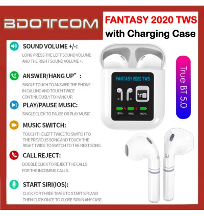 FANTASY 2020 TWS 1.3 inch LCD Display True Wireless Mini Bluetooth 5.0 Stereo In-ear Earphone with Charging Case