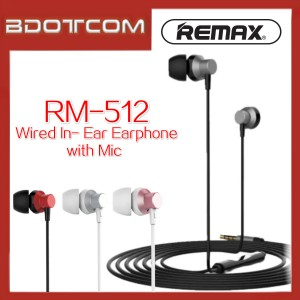 Remax RM-512 Wired Music In-Ear Earphone with Mic for Samsung / iPhone / Huawei / Vivo / Xiaomi / Sony / Morotola / Oneplus