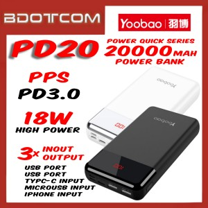 Yoobao PD20 Power Quick series 20000mAh Dual Output + Type-C + Lightning + MicroUSB Input 18W PD3.0 PPS Fast Charge Power Bank