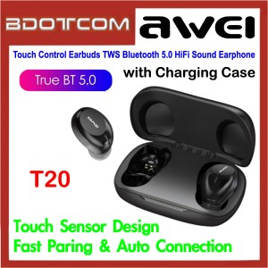 Awei T20 Touch Control Earbuds TWS Bluetooth 5.0 HiFi Sound Mini Earphone with Charging Case Samsung / Apple / Huawei / Xiaomi / Oppo / Vivo