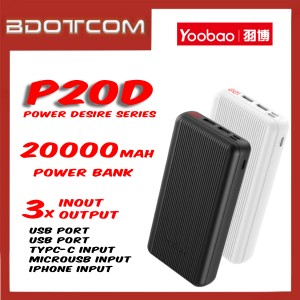 Yoobao P20D Power Desire series 20000mAh Dual Output + Type-C + Lightning + MicroUSB Input Fast Charge Power Bank
