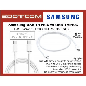 Samsung USB TYPE C to USB TYPE C Sync and Charge Cable for Samsung Galaxy Tab S4, Tab S5E, Tab S6, Note10, Note 10 Plus, Note 9, Note 8, S10, S10+, S10e, S20, S20 Plus, S20 Ultra