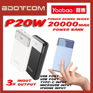 Yoobao P20W Power Wizard series 20000mAh Dual Output + Type-C + Lightning + MicroUSB Input Fast Charge Power Bank