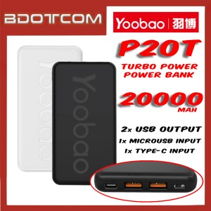 Yoobao P20T Power Desire 2 USB Output + Type-C Input + MicroUSB Input 20000mAh Power Bank