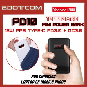 Yoobao PD10 Power Quick 10000mAh 18W PPS Type-C PD + Dual QC3.0 Port Fast Charge Mini Power Bank with Indicator