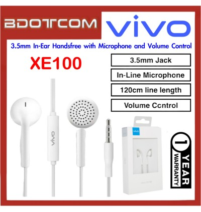 Vivo XE100 3.5mm In-Ear Handsfree with Microphone and Volume Control for Vivo V15 Pro / V15 / Y17 / Y12 / Y15 / Y91 / V11