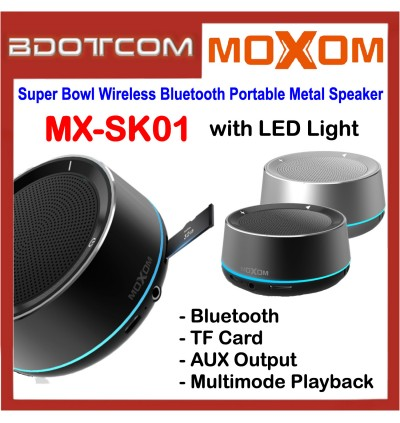Moxom MX-SK01 Super Bowl Wireless Bluetooth Portable Metal Mini Speaker with LED Light for Samsung / Apple / Xiaomi / Huawei / Oppo / Vivo