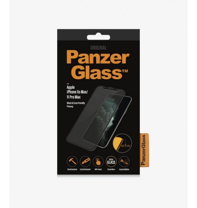 Original PanzerGlass™ Case Friendly Series Full Frame Coverage Privacy Tempered Glass Screen Protector for Apple iPhone 11 Pro Max / Apple iPhone Xs Max