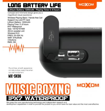 Moxom MX-SK06 Amazon Bass IPX7 Waterproof Bluetooth Wireless V5.0 Speaker for Samsung / Apple / Huawei / Xiaomi / Oppo / Vivo