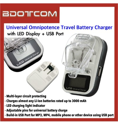 LCD Display USB Universal Omnipotence Travel Battery Charger for Samsung / Huawei / Xiaomi / Oppo / Vivo / Lenovo