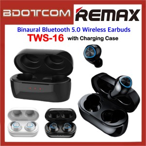 Remax TWS-16 Binaural Bluetooth 5.0 Wireless Earbuds with Charging Case for Samsung / Apple / Huawei / Xiaomi / Oppo / Vivo
