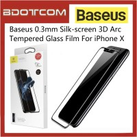 [CLEARANCE] Baseus 0.3mm Silk-screen 3D Arc Tempered Glass for Apple iPhone X (Black)