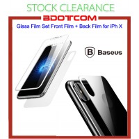 [CLEARANCE] Baseus Glass Film Set Front Film + Back Film for Apple iPhone X (White)