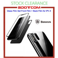[CLEARANCE] Baseus Glass Film Set Front Film + Back Film for Apple iPhone X (Black)