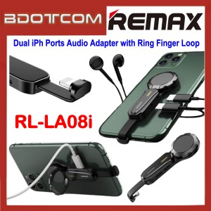 Remax RL-LA08i Dual Lightning Ports Audio Adapter Lightning Interface with Ring Finger Loop for Apple iPhone 7 / iPhone 8 / iPhone X / iPhone SE 2 / iPhone XR / iPhone Xs Max / iPhone 11 / iPhone 11 Pro