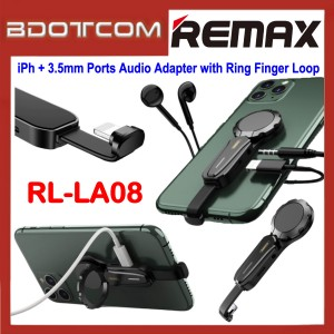 Remax RL-LA08 Lightning + 3.5mm Jack Ports Audio Adapter Lightning Interface with Ring Finger Loop for Apple iPhone 7 / iPhone 8 / iPhone X / iPhone SE 2 / iPhone XR / iPhone Xs Max / iPhone 11 / iPhone 11 Pro