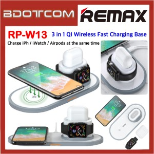 Remax RP-W13 3 in 1 QI Wireless Fast Charging Base for Apple Device Apple Watch / Airpods / iPhone 8 / iPhone / iPhone X / iPhone Xs Max / iPhone 11