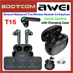 Awei T15 Binaural Touch Control Waterproof True Wireless Bluetooth 5.0 Earphone with Charging Case for Samsung / Apple / Xiaomi / Huawei / Oppo / Vivo
