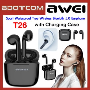 Awei T26 Sport Waterproof True Wireless Bluetooth 5.0 Earphone with Charging Case for Samsung / Apple / Xiaomi / Huawei / Oppo / Vivo