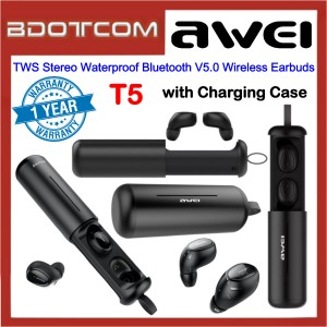 Awei T5 TWS Stereo Waterproof Bluetooth V5.0 Wireless Earbuds With Charging Case for Samsung / Apple / Xiaomi / Huawei / Oppo / Vivo