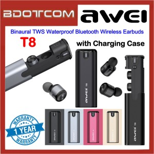 Awei T8 Binaural TWS Sport Wireless Bluetooth Earphones with Charging Case for Samsung / Apple / Huawei / Xiaomi / Oppo / Vivo