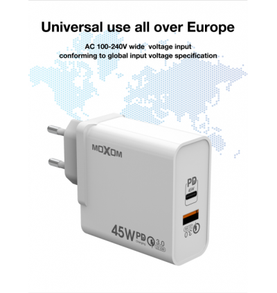 Moxom MX-HC28 Super Power 45W PD Type-C + QC3.0 Single USB Port Fast Charge Wall Charger with US Plug + UK Plug for Samsung / Apple / Xiaomi / Huawei / Vivo / Oppo