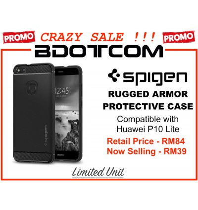 (CRAZY SALES) Original Spigen Rugged Armor Protective Cover Case for Huawei P10 Lite (Black)