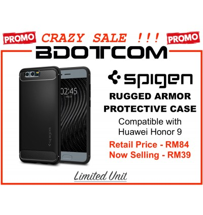 (CRAZY SALES) Original Spigen Rugged Armor Protective Cover Case for Huawei Honor 9 (Black)