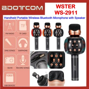 WSTER WS-2911 Handheld Portable Wireless Bluetooth Microphone with Speaker for Samsung / Apple / Huawei / Xiaomi / Oppo / Vivo
