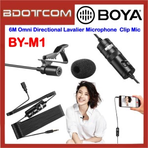 Boya BY-M1 6M Omni Directional Lavalier Microphone Presentation Video Recording Clip Mic for Samsung / Apple / Xiaomi / Huawei / Oppo / Vivo