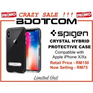 (CRAZY SALES) Original Spigen Crystal Hybrid Protective Cover Case for Apple iPhone X/Xs (Black)
